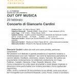 Concerto di Cardini al Teatro Out Off di Milano